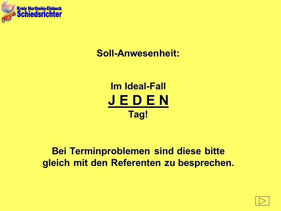 Soll-Anwesenheit: Im Ideal-Fall J E D E N Tag! Bei Terminproblemen sind diese bitte gleich mit den Referenten zu besprechen.