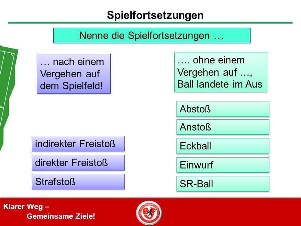 Klarer Weg – Gemeinsame Ziele! Spielfortsetzungen indirekter Freistoß direkter Freistoß SR-Ball Einwurf Eckball Anstoß Abstoß Strafstoß Nenne die Spie