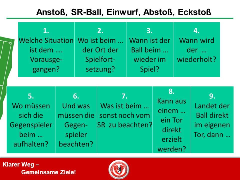 Klarer Weg – Gemeinsame Ziele! Anstoß, SR-Ball, Einwurf, Abstoß, Eckstoß 1. Welche Situation ist dem …. Vorausge- gangen? 2. Wo ist beim … der Ort der