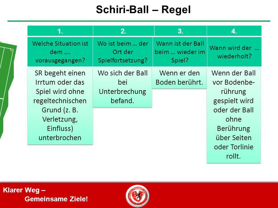 Klarer Weg – Gemeinsame Ziele! Schiri-Ball – Regel SR begeht einen Irrtum oder das Spiel wird ohne regeltechnischen Grund (z. B. Verletzung, Einfluss)