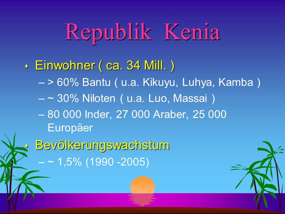 Republik Kenia s Einwohner ( ca. 34 Mill. ) –> 60% Bantu ( u.a. Kikuyu, Luhya, Kamba ) –~ 30% Niloten ( u.a. Luo, Massai ) –80 000 Inder, 27 000 Arabe
