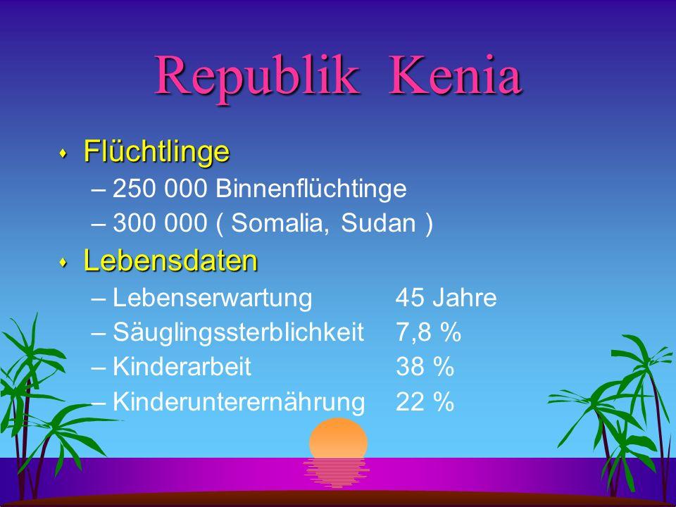 Republik Kenia s Flüchtlinge –250 000 Binnenflüchtinge –300 000 ( Somalia, Sudan ) s Lebensdaten –Lebenserwartung 45 Jahre –Säuglingssterblichkeit 7,8