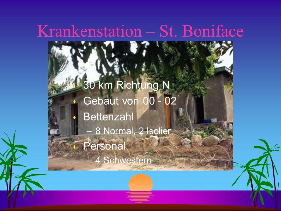 Krankenstation – St. Boniface s 30 km Richtung N s Gebaut von 00 - 02 s Bettenzahl –8 Normal, 2 Isolier s Personal –4 Schwestern