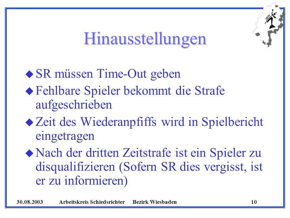 30.08.2003 Arbeitskreis SchiedsrichterBezirk Wiesbaden 10 Hinausstellungen u SR müssen Time-Out geben u Fehlbare Spieler bekommt die Strafe aufgeschri