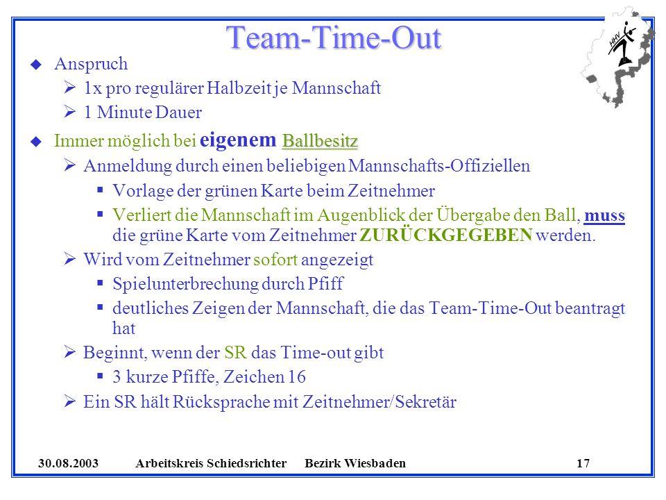 30.08.2003 Arbeitskreis SchiedsrichterBezirk Wiesbaden 17 Team-Time-Out u Anspruch 1x pro regulärer Halbzeit je Mannschaft 1 Minute Dauer Ballbesitz u