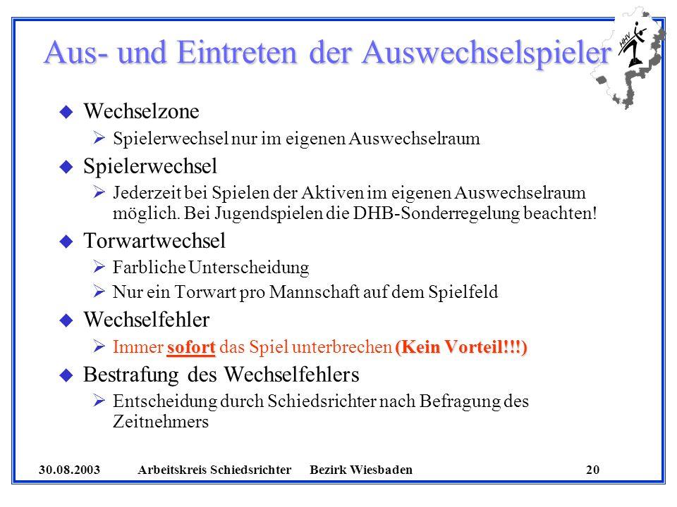 30.08.2003 Arbeitskreis SchiedsrichterBezirk Wiesbaden 20 Aus- und Eintreten der Auswechselspieler u Wechselzone Spielerwechsel nur im eigenen Auswech