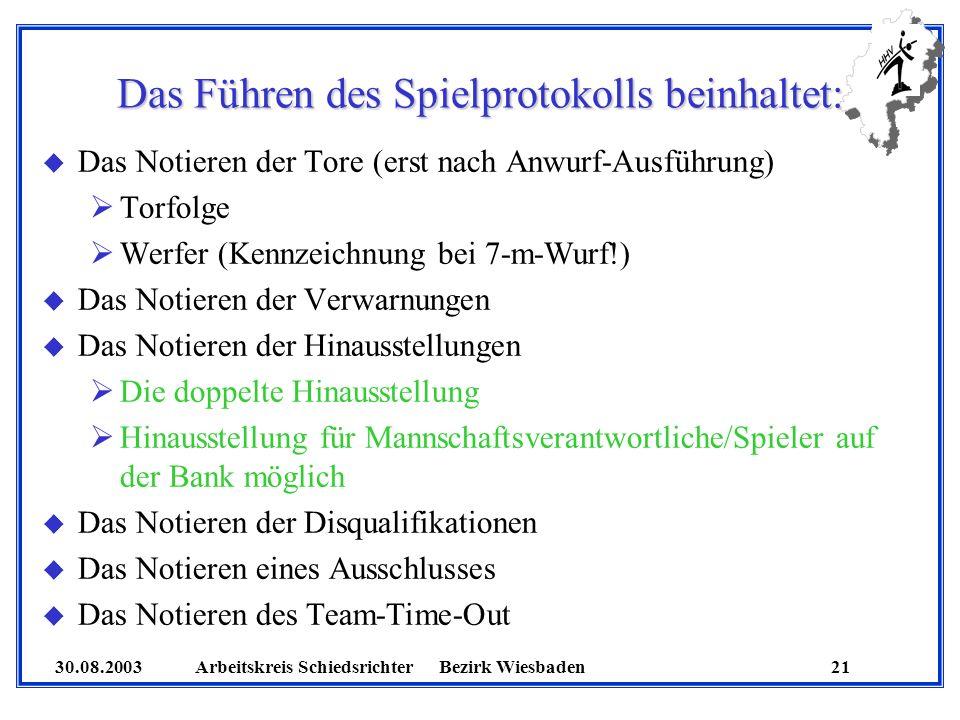 30.08.2003 Arbeitskreis SchiedsrichterBezirk Wiesbaden 21 Das Führen des Spielprotokolls beinhaltet: u Das Notieren der Tore (erst nach Anwurf-Ausführ