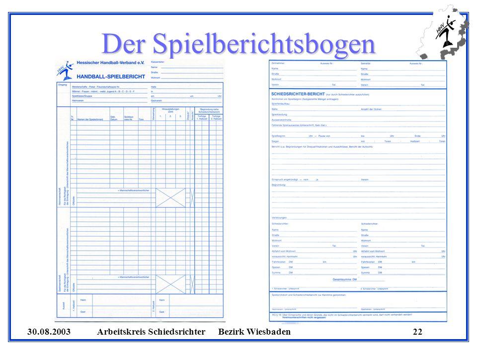 30.08.2003 Arbeitskreis SchiedsrichterBezirk Wiesbaden 22 Der Spielberichtsbogen