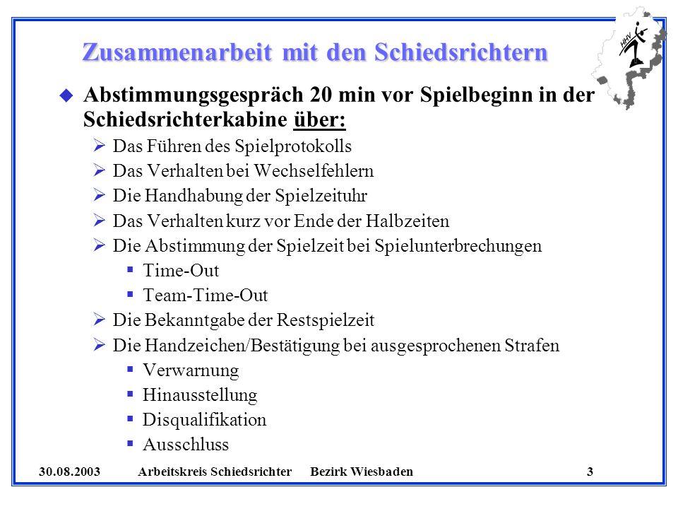 30.08.2003 Arbeitskreis SchiedsrichterBezirk Wiesbaden 14 Wichtiger Hinweis u Missverständnisse/Unklarheiten im Zusammenhang mit Bestrafungen sind umgehend mit den SR zu klären u Hinweispfiff bei der nächsten Spielunterbrechung unter Berücksichtigung des Vorteilgedankens