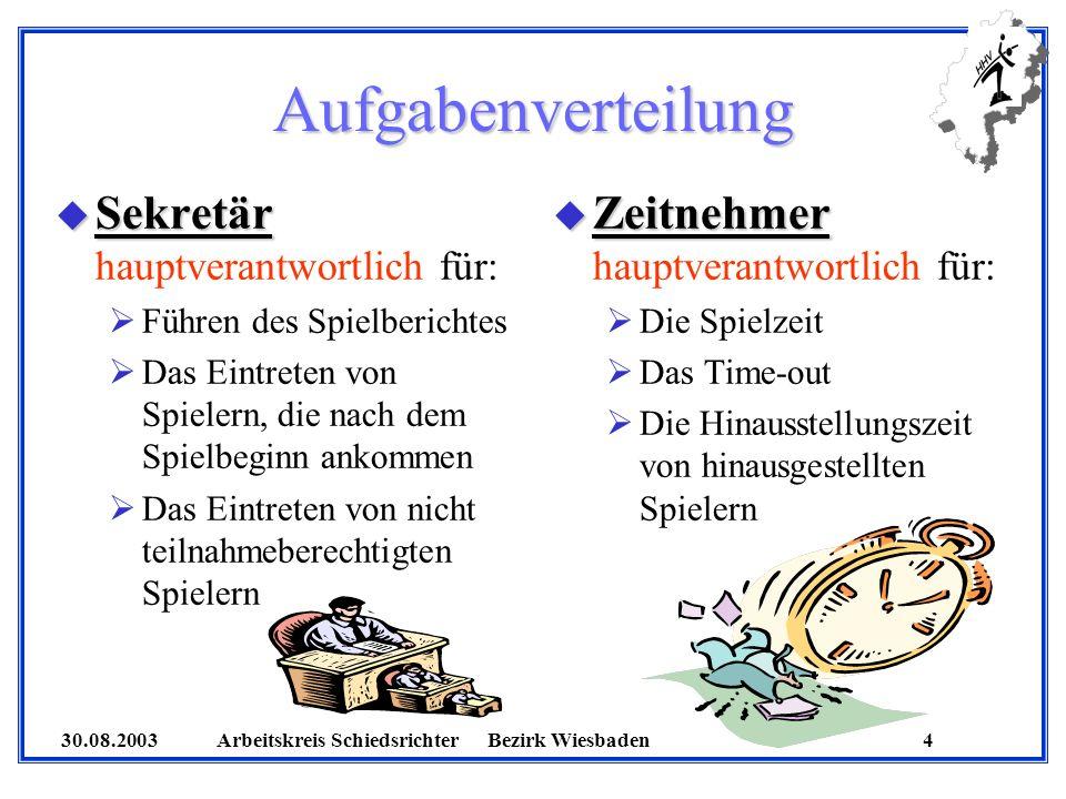 30.08.2003 Arbeitskreis SchiedsrichterBezirk Wiesbaden 4 Aufgabenverteilung u Sekretär u Sekretär hauptverantwortlich für: Führen des Spielberichtes D