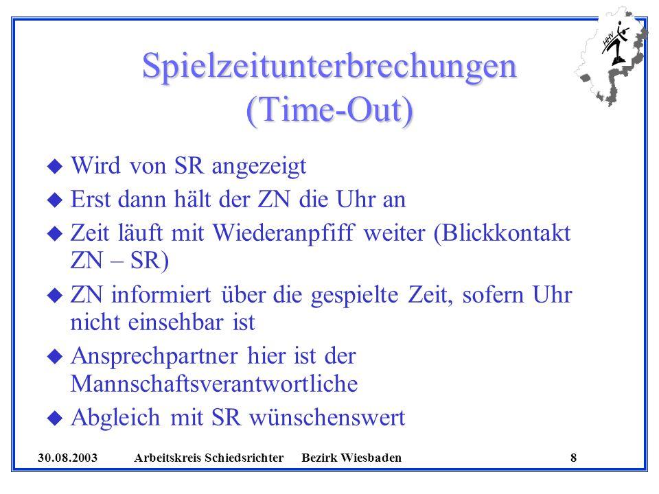 30.08.2003 Arbeitskreis SchiedsrichterBezirk Wiesbaden 8 Spielzeitunterbrechungen (Time-Out) u Wird von SR angezeigt u Erst dann hält der ZN die Uhr a