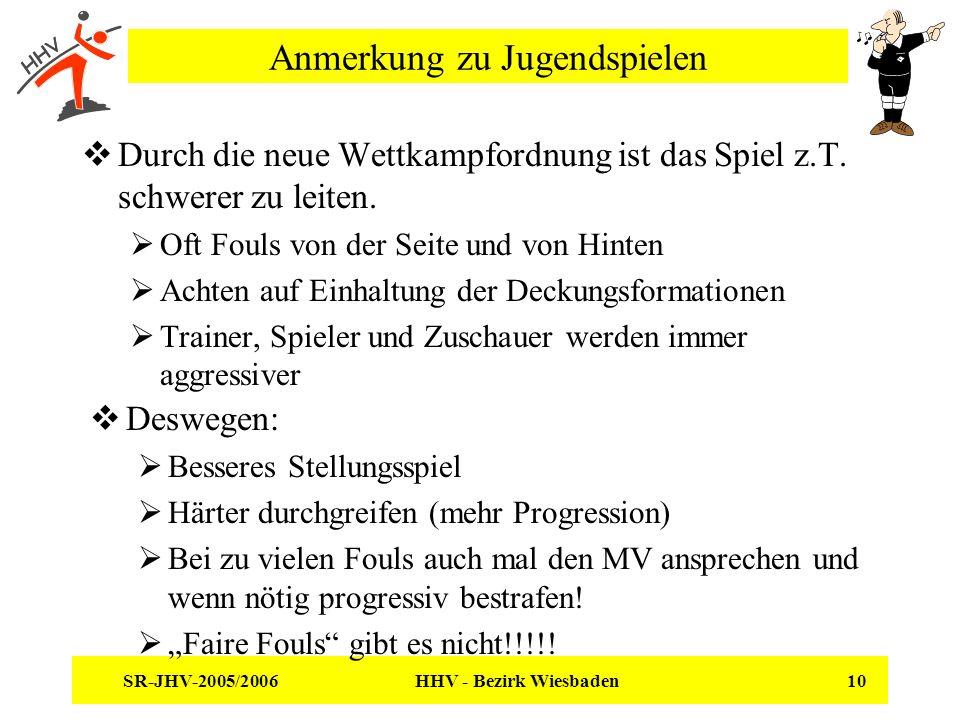 SR-JHV-2005/2006 HHV - Bezirk Wiesbaden 10 Anmerkung zu Jugendspielen Durch die neue Wettkampfordnung ist das Spiel z.T. schwerer zu leiten. Oft Fouls