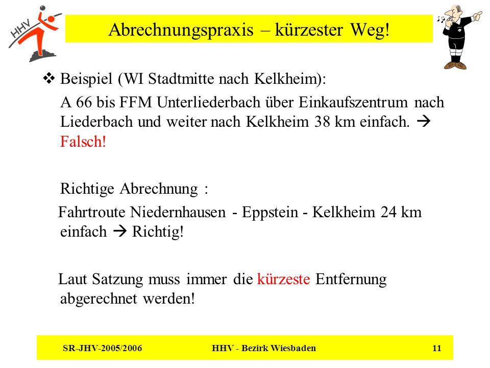 SR-JHV-2005/2006 HHV - Bezirk Wiesbaden 11 Abrechnungspraxis – kürzester Weg! Beispiel (WI Stadtmitte nach Kelkheim): A 66 bis FFM Unterliederbach übe