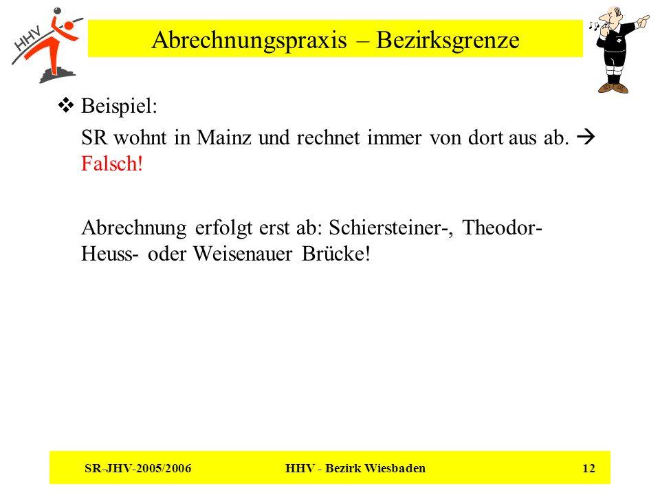 SR-JHV-2005/2006 HHV - Bezirk Wiesbaden 12 Abrechnungspraxis – Bezirksgrenze Beispiel: SR wohnt in Mainz und rechnet immer von dort aus ab.