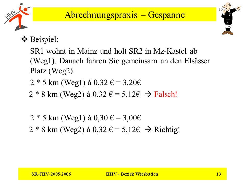 SR-JHV-2005/2006 HHV - Bezirk Wiesbaden 13 Abrechnungspraxis – Gespanne Beispiel: SR1 wohnt in Mainz und holt SR2 in Mz-Kastel ab (Weg1). Danach fahre