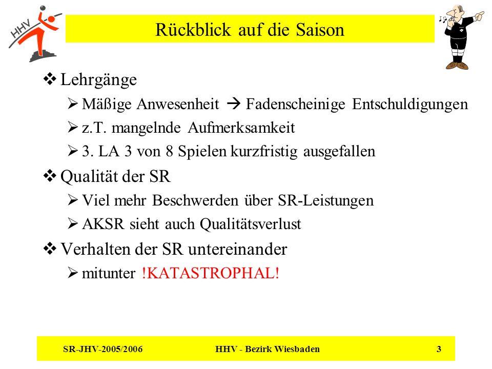 SR-JHV-2005/2006 HHV - Bezirk Wiesbaden 3 Rückblick auf die Saison Lehrgänge Mäßige Anwesenheit Fadenscheinige Entschuldigungen z.T. mangelnde Aufmerk