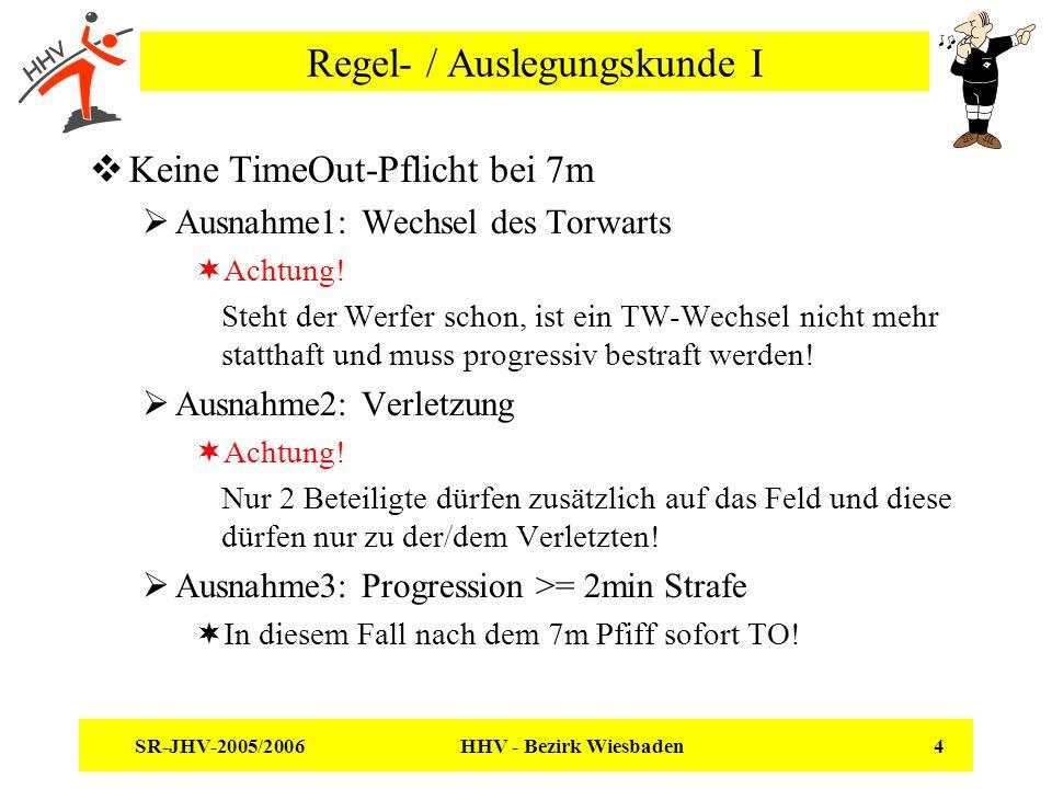 SR-JHV-2005/2006 HHV - Bezirk Wiesbaden 4 Regel- / Auslegungskunde I Keine TimeOut-Pflicht bei 7m Ausnahme1: Wechsel des Torwarts Achtung! Steht der W