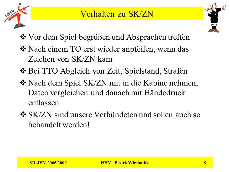 SR-JHV-2005/2006 HHV - Bezirk Wiesbaden 9 Verhalten zu SK/ZN Vor dem Spiel begrüßen und Absprachen treffen Nach einem TO erst wieder anpfeifen, wenn das Zeichen von SK/ZN kam Bei TTO Abgleich von Zeit, Spielstand, Strafen Nach dem Spiel SK/ZN mit in die Kabine nehmen, Daten vergleichen und danach mit Händedruck entlassen SK/ZN sind unsere Verbündeten und sollen auch so behandelt werden!