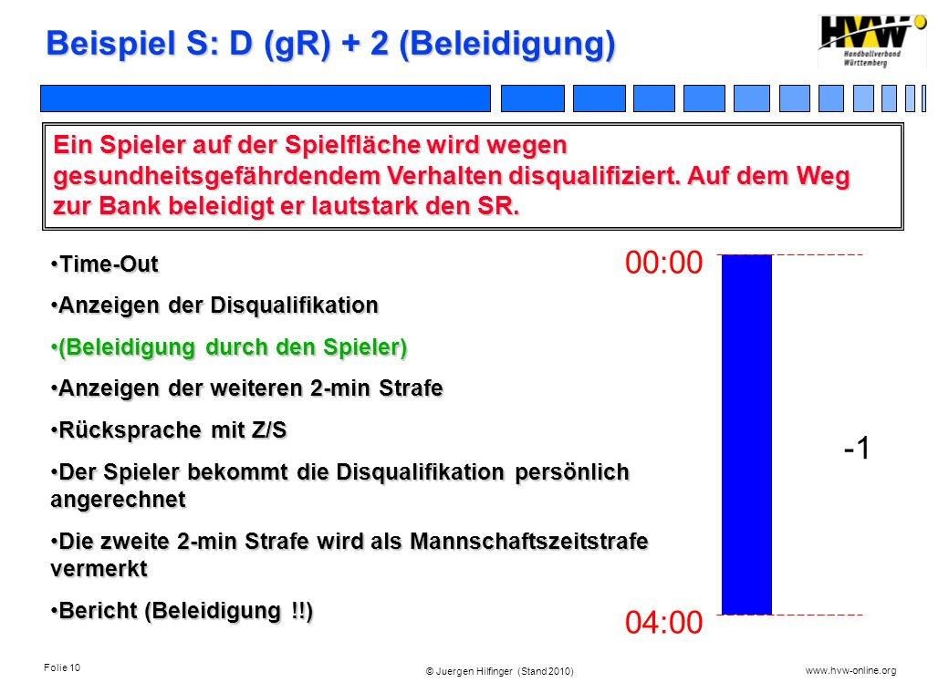 Folie 10 www.hvw-online.org © Juergen Hilfinger (Stand 2010) Beispiel S: D (gR) + 2 (Beleidigung) Ein Spieler auf der Spielfläche wird wegen gesundhei