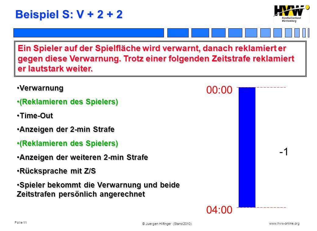 Folie 11 www.hvw-online.org © Juergen Hilfinger (Stand 2010) Beispiel S: V + 2 + 2 Ein Spieler auf der Spielfläche wird verwarnt, danach reklamiert er