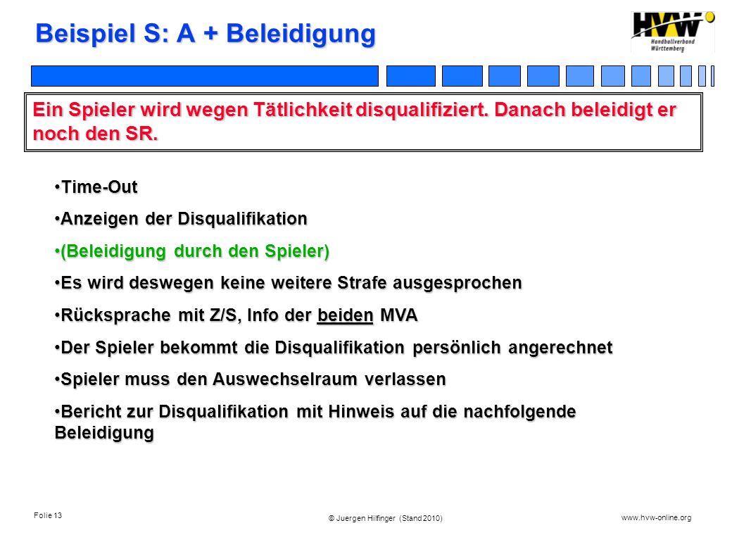 Folie 13 www.hvw-online.org © Juergen Hilfinger (Stand 2010) Beispiel S: A + Beleidigung Ein Spieler wird wegen Tätlichkeit disqualifiziert. Danach be