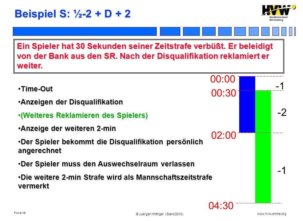 Folie 15 www.hvw-online.org © Juergen Hilfinger (Stand 2010) Beispiel S: ½-2 + D + 2 Ein Spieler hat 30 Sekunden seiner Zeitstrafe verbüßt. Er beleidi