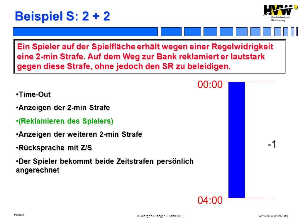 Folie 5 www.hvw-online.org © Juergen Hilfinger (Stand 2010) Beispiel S: 2 + 2 Ein Spieler auf der Spielfläche erhält wegen einer Regelwidrigkeit eine