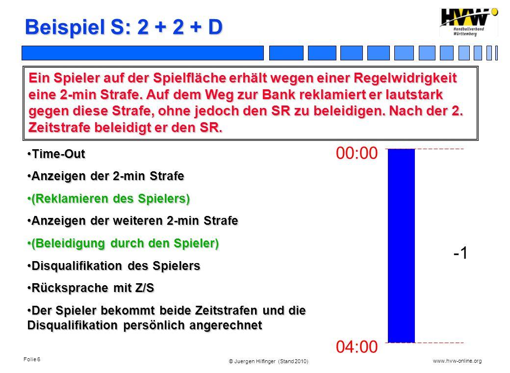 Folie 6 www.hvw-online.org © Juergen Hilfinger (Stand 2010) Beispiel S: 2 + 2 + D Ein Spieler auf der Spielfläche erhält wegen einer Regelwidrigkeit e