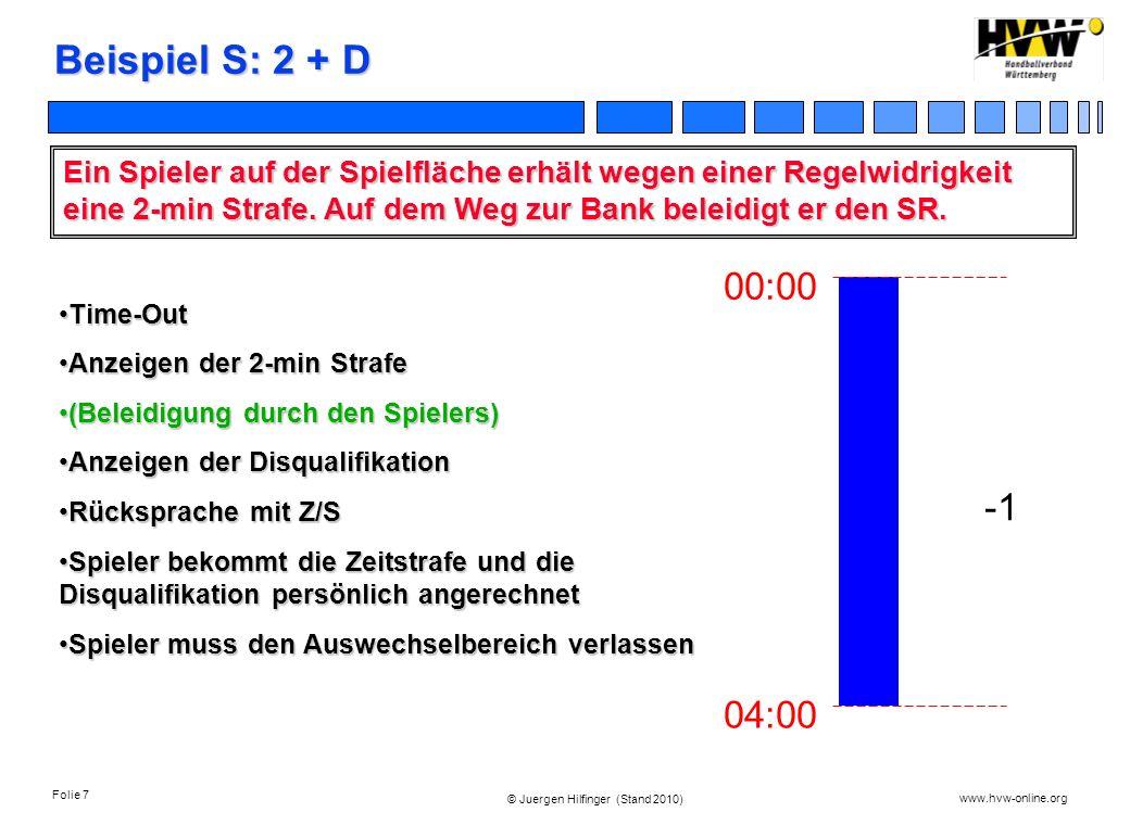 Folie 7 www.hvw-online.org © Juergen Hilfinger (Stand 2010) Beispiel S: 2 + D Ein Spieler auf der Spielfläche erhält wegen einer Regelwidrigkeit eine