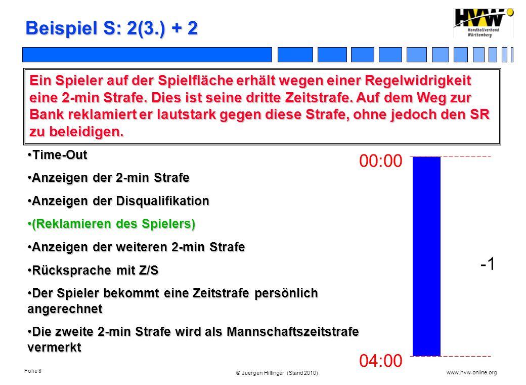 Folie 8 www.hvw-online.org © Juergen Hilfinger (Stand 2010) Beispiel S: 2(3.) + 2 Ein Spieler auf der Spielfläche erhält wegen einer Regelwidrigkeit e