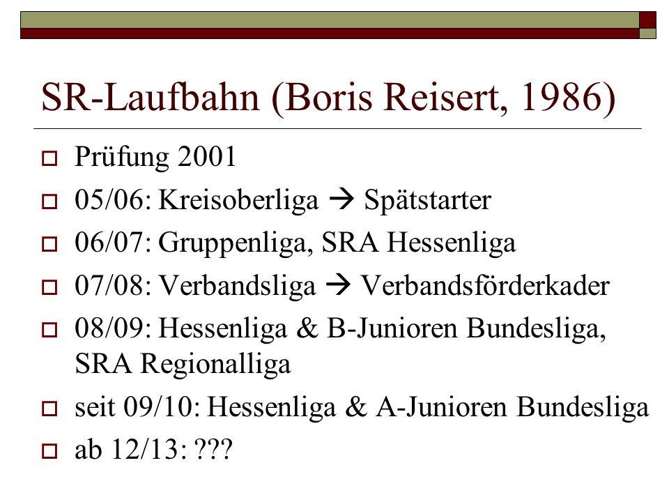SR-Laufbahn (Boris Reisert, 1986) Prüfung 2001 05/06: Kreisoberliga Spätstarter 06/07: Gruppenliga, SRA Hessenliga 07/08: Verbandsliga Verbandsförderk