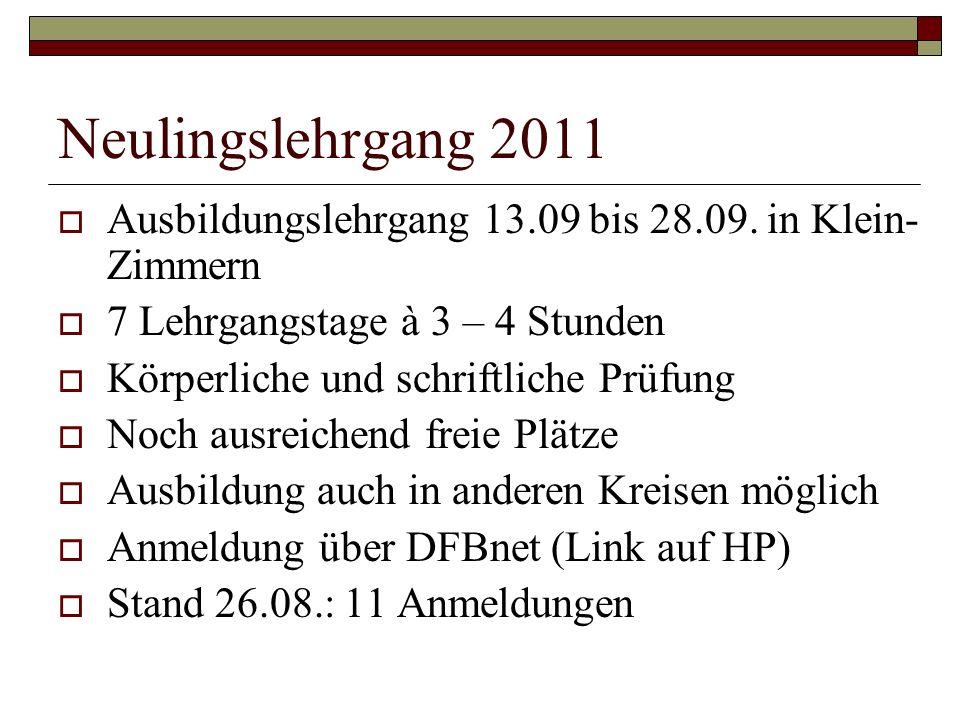 Neulingslehrgang 2011 Ausbildungslehrgang 13.09 bis 28.09. in Klein- Zimmern 7 Lehrgangstage à 3 – 4 Stunden Körperliche und schriftliche Prüfung Noch