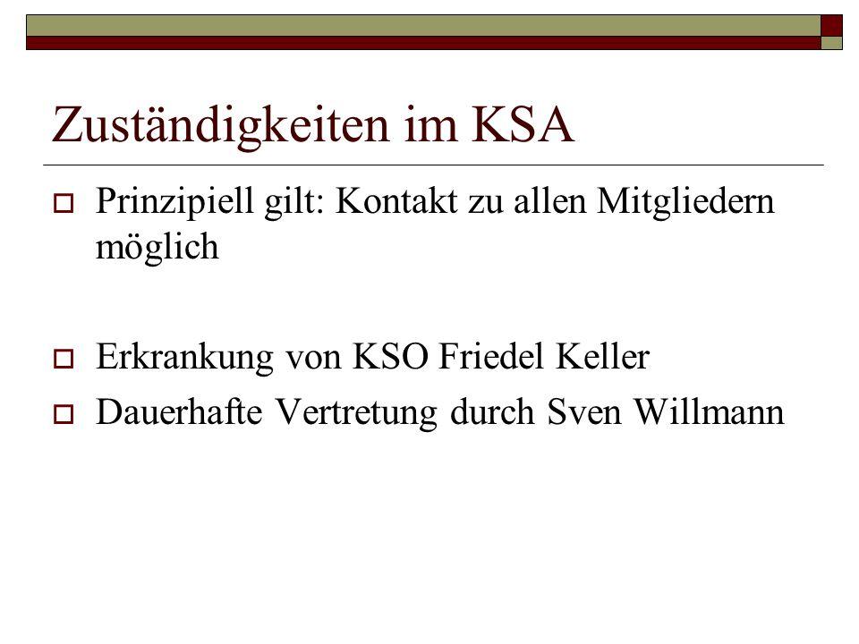 Zuständigkeiten im KSA Prinzipiell gilt: Kontakt zu allen Mitgliedern möglich Erkrankung von KSO Friedel Keller Dauerhafte Vertretung durch Sven Willm