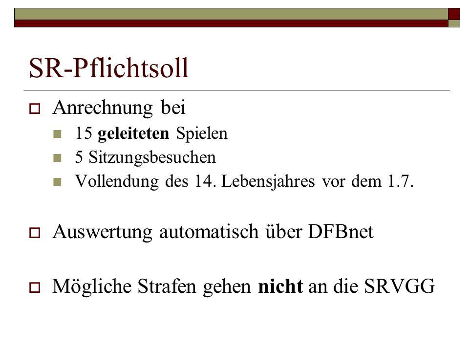 SR-Pflichtsoll Anrechnung bei 15 geleiteten Spielen 5 Sitzungsbesuchen Vollendung des 14. Lebensjahres vor dem 1.7. Auswertung automatisch über DFBnet