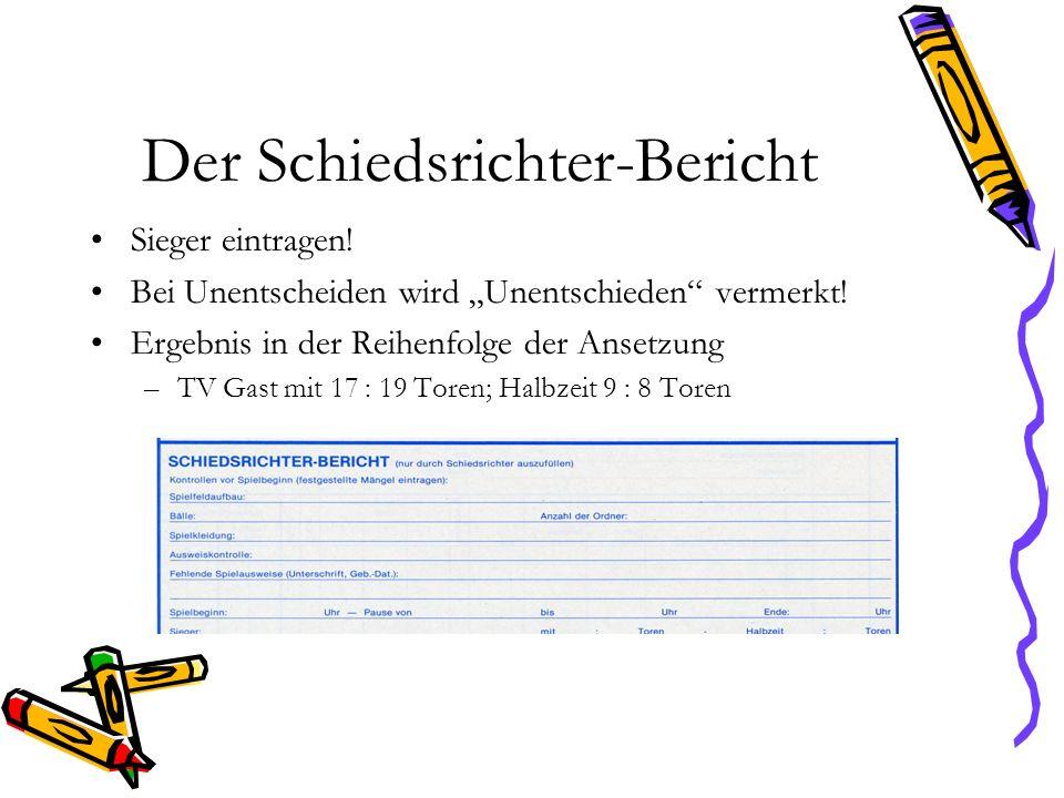 Der Schiedsrichter-Bericht Sieger eintragen! Bei Unentscheiden wird Unentschieden vermerkt! Ergebnis in der Reihenfolge der Ansetzung –TV Gast mit 17