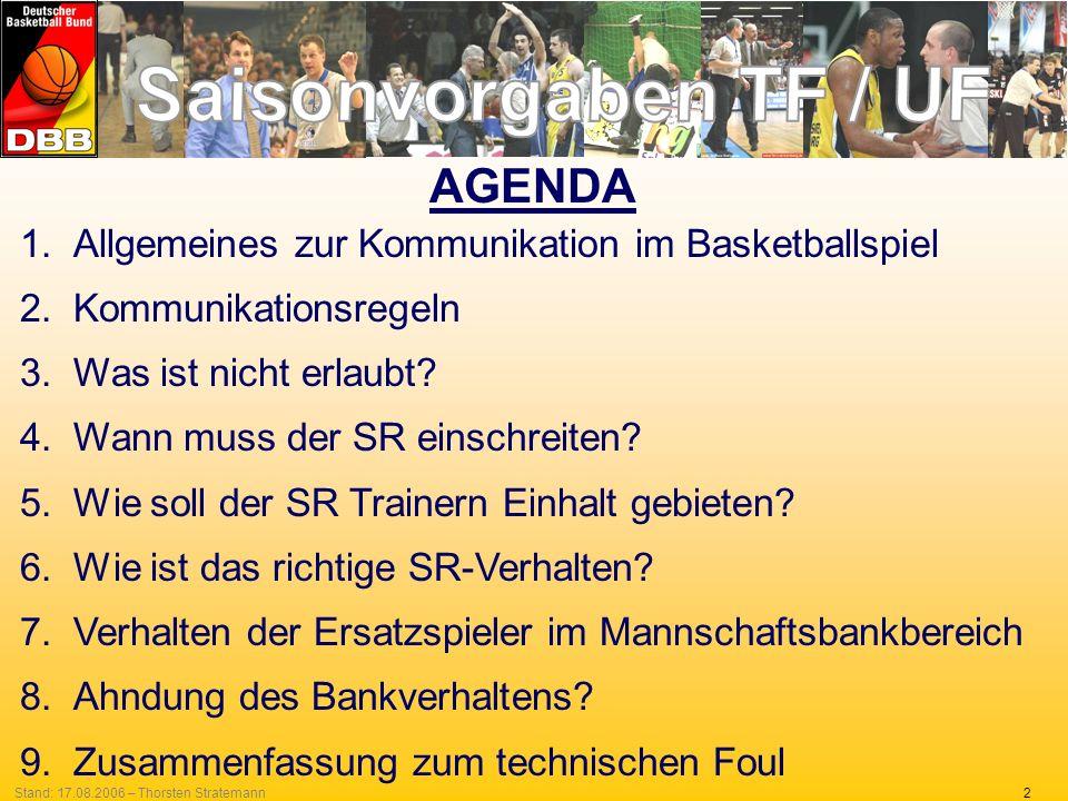 2Stand: 17.08.2006 – Thorsten Stratemann AGENDA 1.Allgemeines zur Kommunikation im Basketballspiel 2.Kommunikationsregeln 3.Was ist nicht erlaubt? 4.W