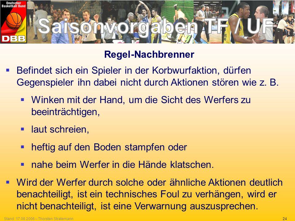 24Stand: 17.08.2006 – Thorsten Stratemann Regel-Nachbrenner Befindet sich ein Spieler in der Korbwurfaktion, dürfen Gegenspieler ihn dabei nicht durch