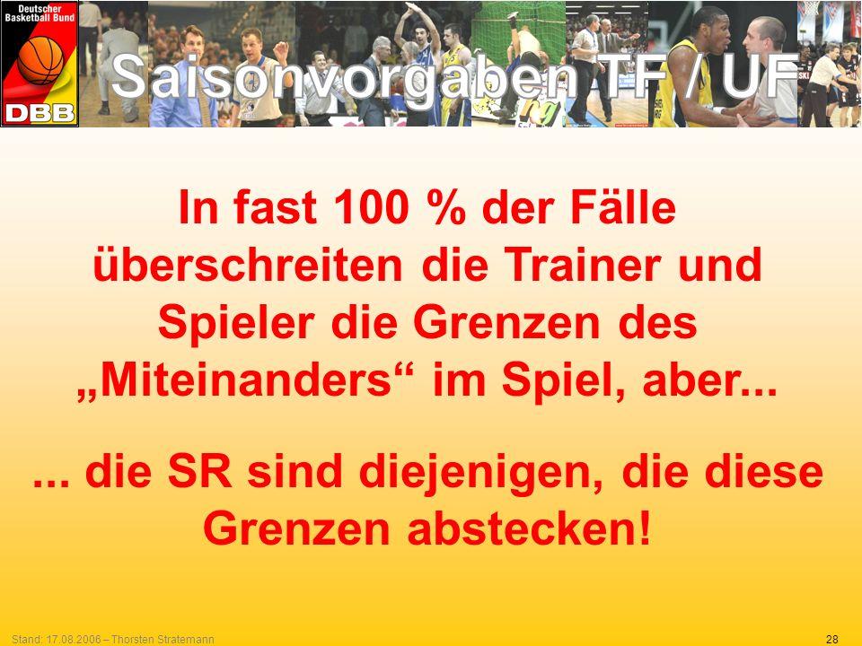28Stand: 17.08.2006 – Thorsten Stratemann In fast 100 % der Fälle überschreiten die Trainer und Spieler die Grenzen des Miteinanders im Spiel, aber...