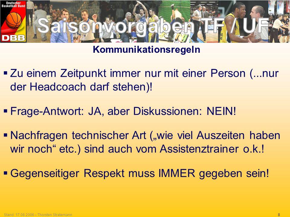 8Stand: 17.08.2006 – Thorsten Stratemann Zu einem Zeitpunkt immer nur mit einer Person (...nur der Headcoach darf stehen)! Frage-Antwort: JA, aber Dis