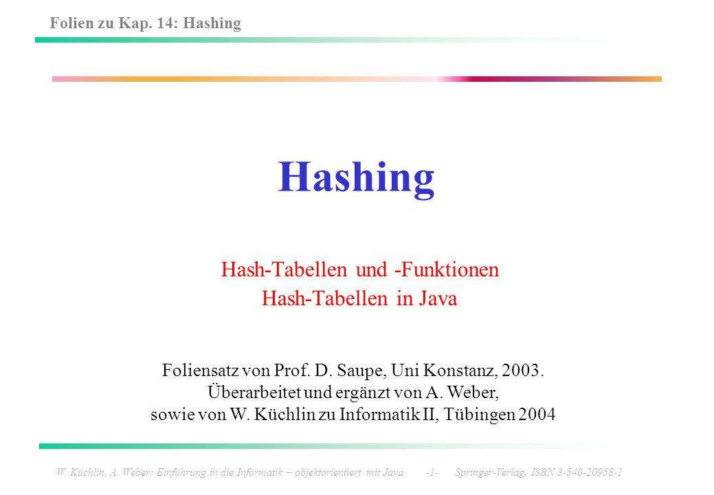 Folien zu Kap. 14: Hashing W. Küchlin, A. Weber: Einführung in die Informatik – objektorientiert mit Java -1- Springer-Verlag, ISBN 3-540-20958-1 Hash