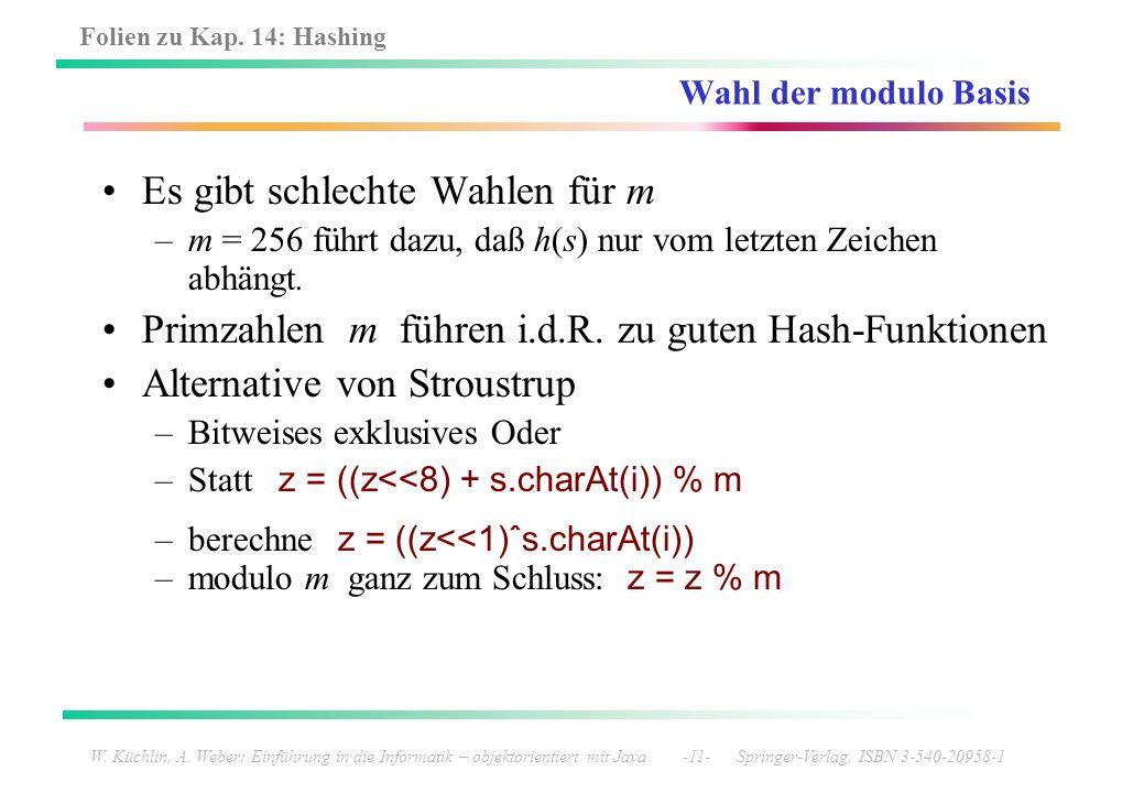 Folien zu Kap. 14: Hashing W. Küchlin, A. Weber: Einführung in die Informatik – objektorientiert mit Java -11- Springer-Verlag, ISBN 3-540-20958-1 Wah