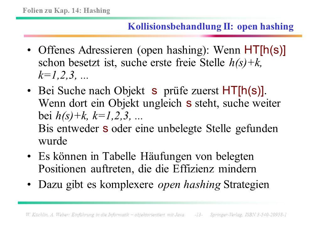 Folien zu Kap. 14: Hashing W. Küchlin, A. Weber: Einführung in die Informatik – objektorientiert mit Java -13- Springer-Verlag, ISBN 3-540-20958-1 Kol