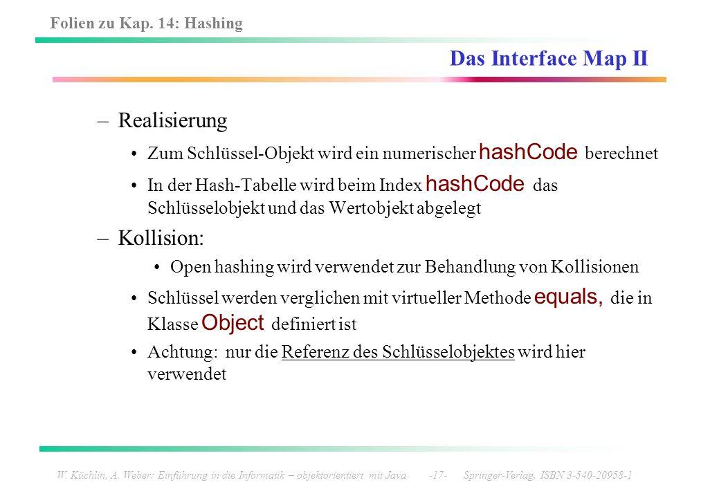 Folien zu Kap. 14: Hashing W. Küchlin, A. Weber: Einführung in die Informatik – objektorientiert mit Java -17- Springer-Verlag, ISBN 3-540-20958-1 Das