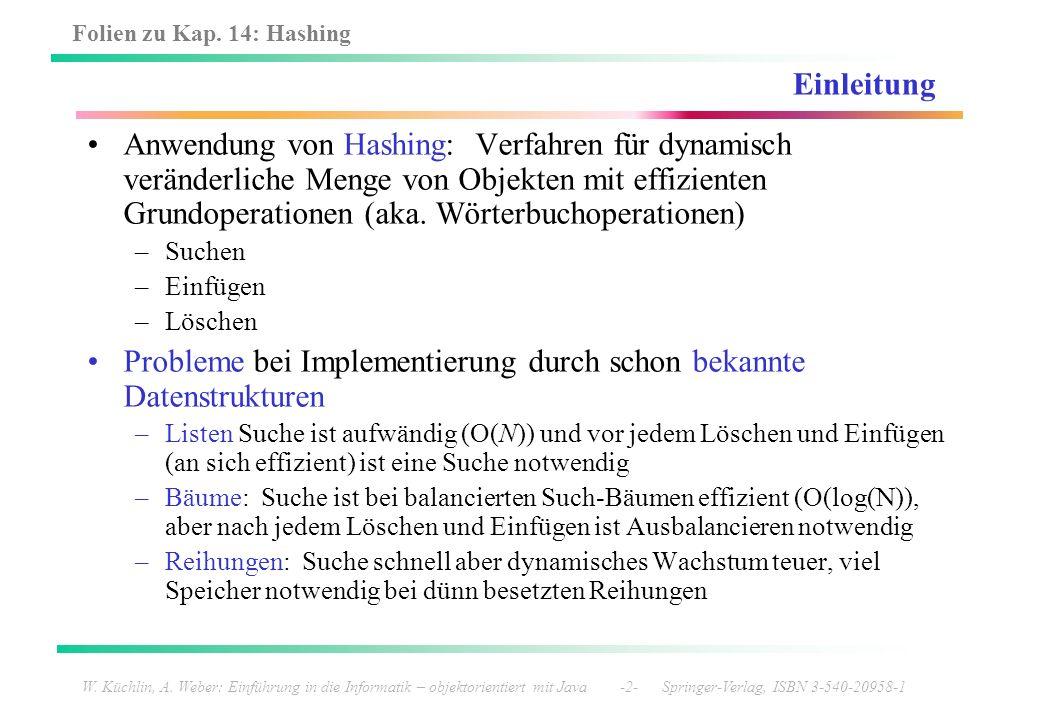 Folien zu Kap. 14: Hashing W. Küchlin, A. Weber: Einführung in die Informatik – objektorientiert mit Java -2- Springer-Verlag, ISBN 3-540-20958-1 Einl