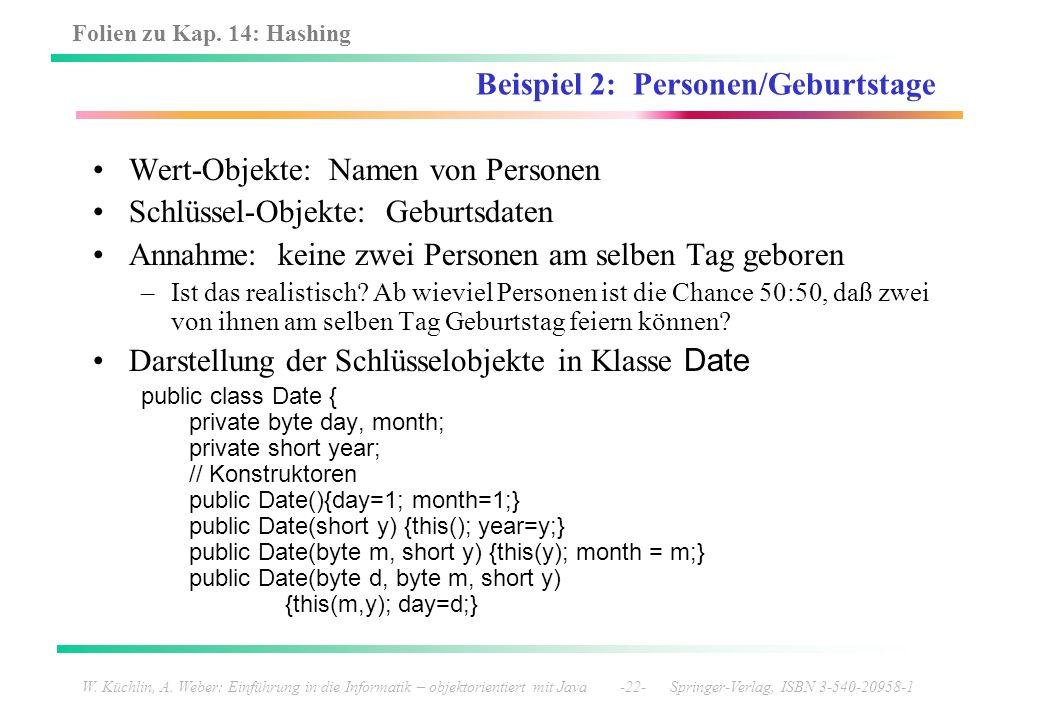 Folien zu Kap. 14: Hashing W. Küchlin, A. Weber: Einführung in die Informatik – objektorientiert mit Java -22- Springer-Verlag, ISBN 3-540-20958-1 Bei