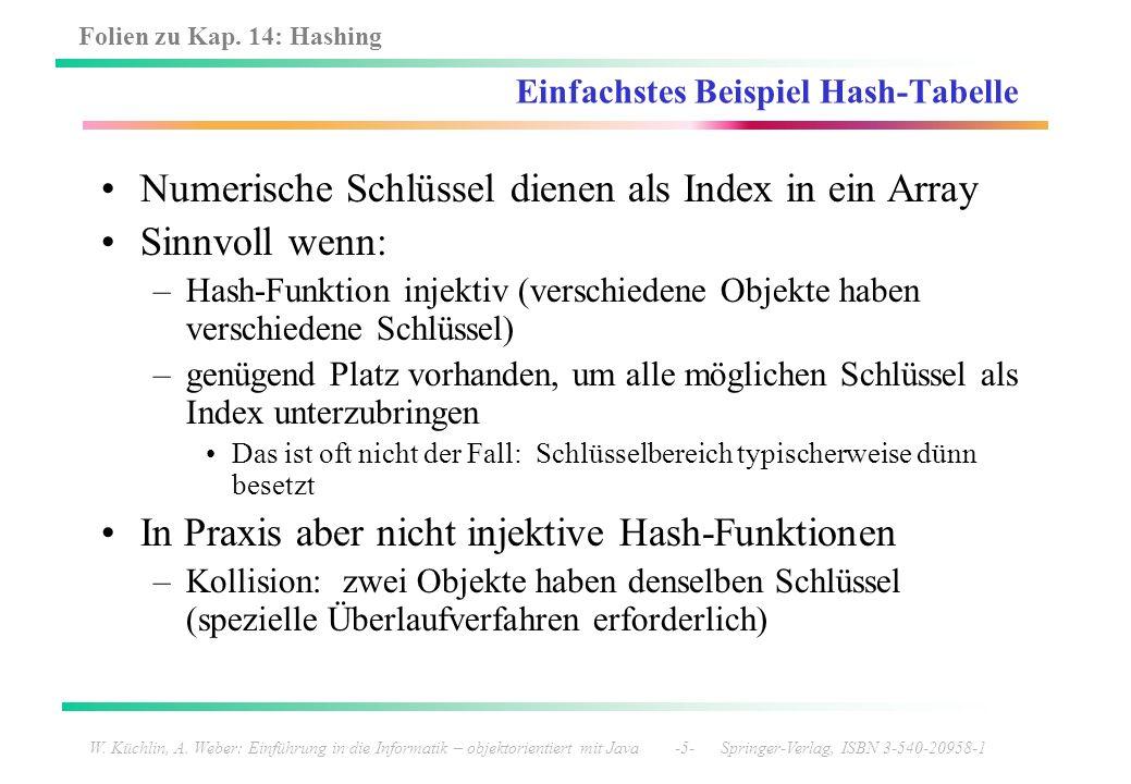 Folien zu Kap. 14: Hashing W. Küchlin, A. Weber: Einführung in die Informatik – objektorientiert mit Java -5- Springer-Verlag, ISBN 3-540-20958-1 Einf