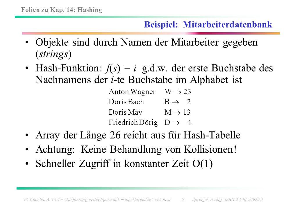 Folien zu Kap. 14: Hashing W. Küchlin, A. Weber: Einführung in die Informatik – objektorientiert mit Java -6- Springer-Verlag, ISBN 3-540-20958-1 Beis