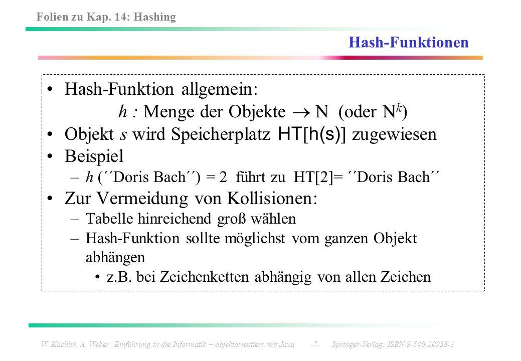 Folien zu Kap. 14: Hashing W. Küchlin, A. Weber: Einführung in die Informatik – objektorientiert mit Java -7- Springer-Verlag, ISBN 3-540-20958-1 Hash