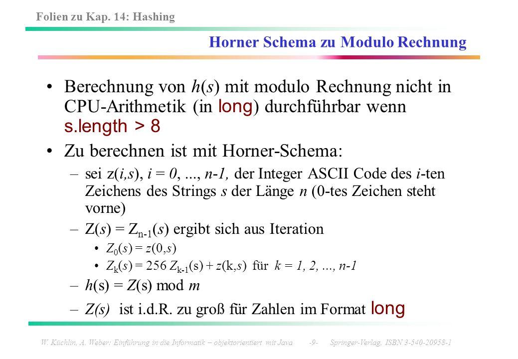 Folien zu Kap. 14: Hashing W. Küchlin, A. Weber: Einführung in die Informatik – objektorientiert mit Java -9- Springer-Verlag, ISBN 3-540-20958-1 Horn