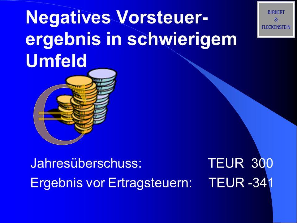 Negatives Vorsteuer- ergebnis in schwierigem Umfeld Jahresüberschuss: TEUR 300 Ergebnis vor Ertragsteuern:TEUR -341